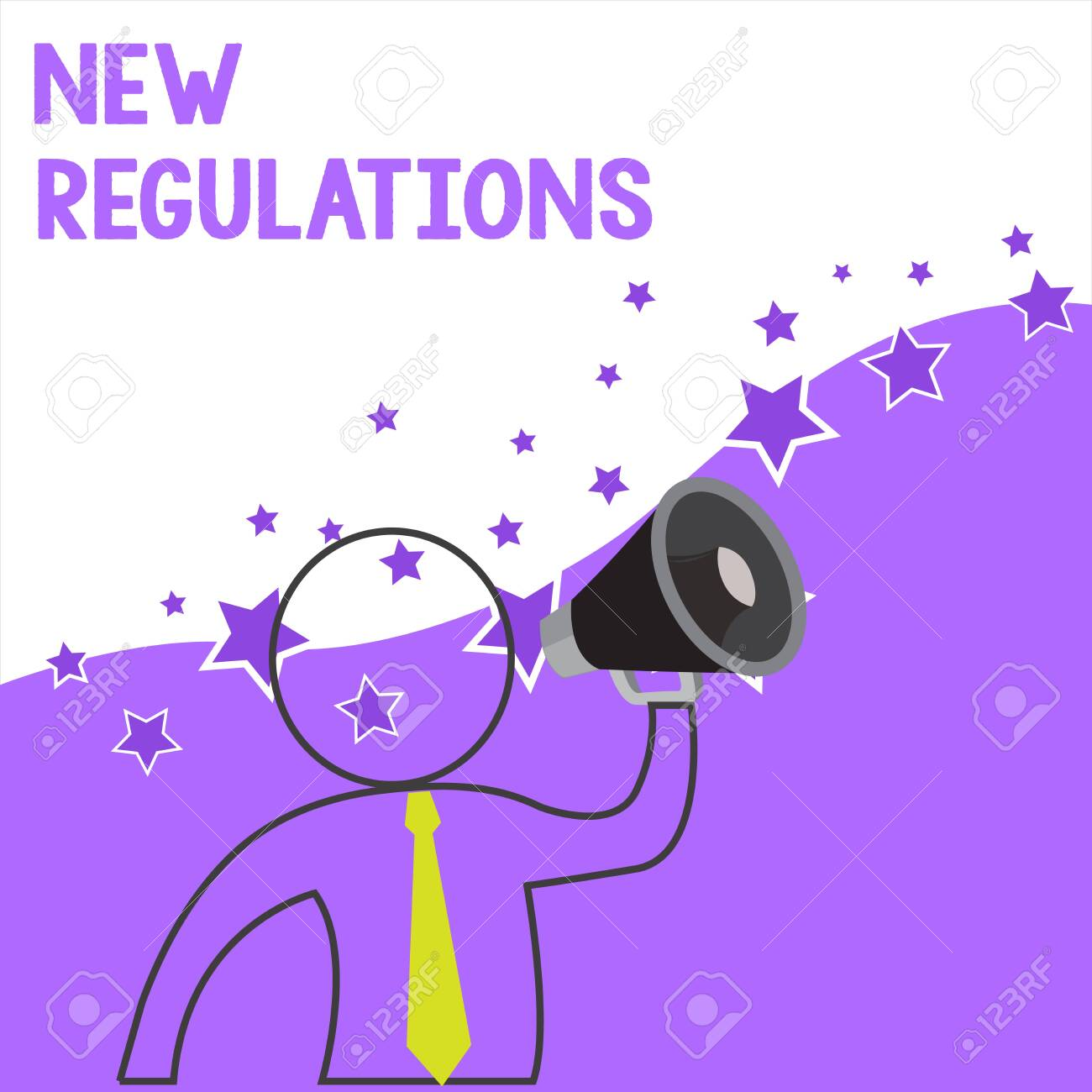 Text sign showing New Regulations. Business photo showcasing Regulation controlling the activity usually used by rules. Outline Symbol Man Loudspeaker Making Announcement Giving Instructions - 124906116