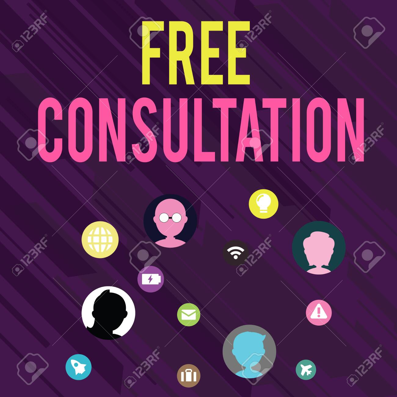 Conceptual hand writing showing Free Consultation. Concept meaning Giving medical and legal discussions without pay Networking Technical Icons Chat Heads on Screen for Link Up - 124928546