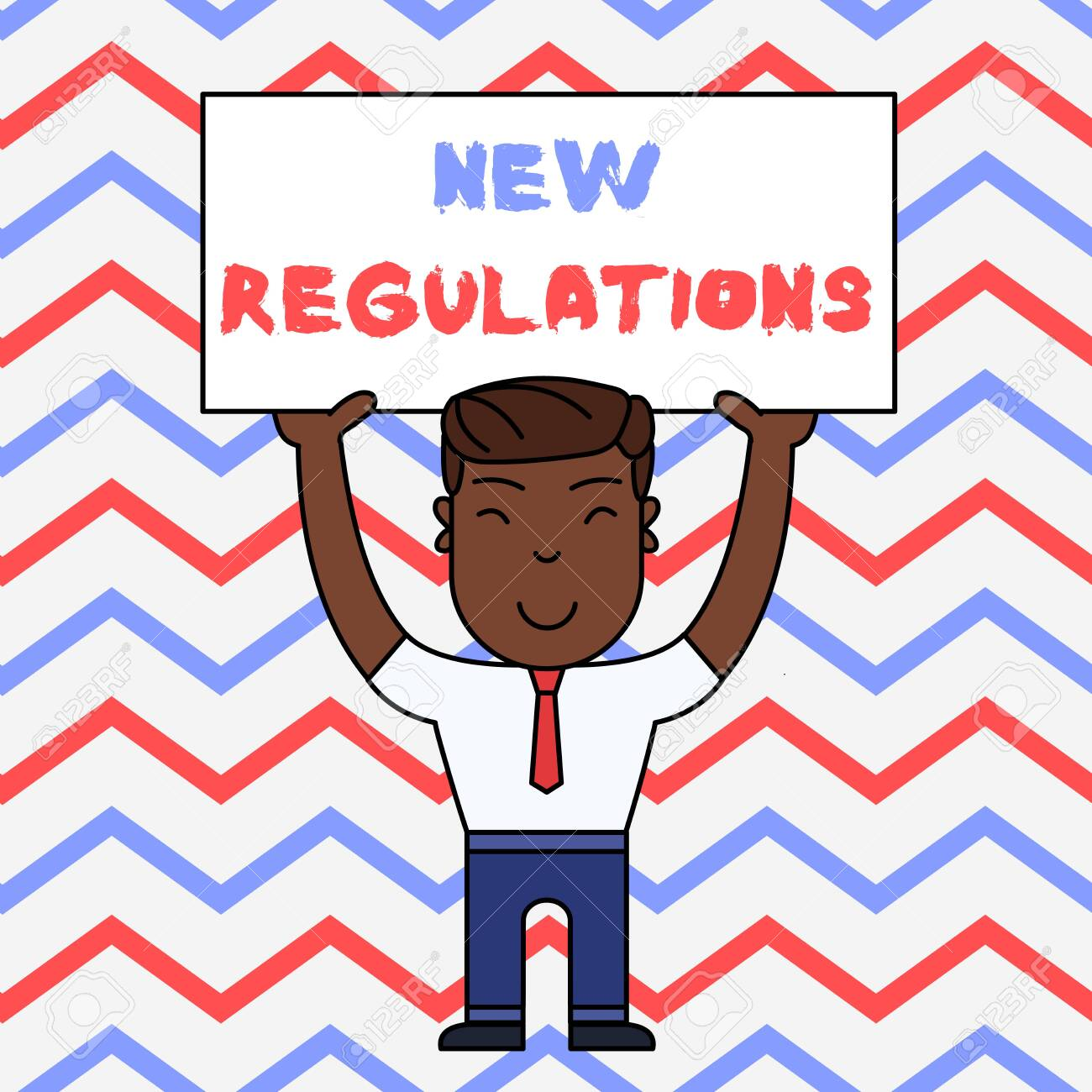 Text sign showing New Regulations. Business photo text Regulation controlling the activity usually used by rules. Smiling Man Standing Holding Big Empty Placard Overhead with Both Hands - 124929313