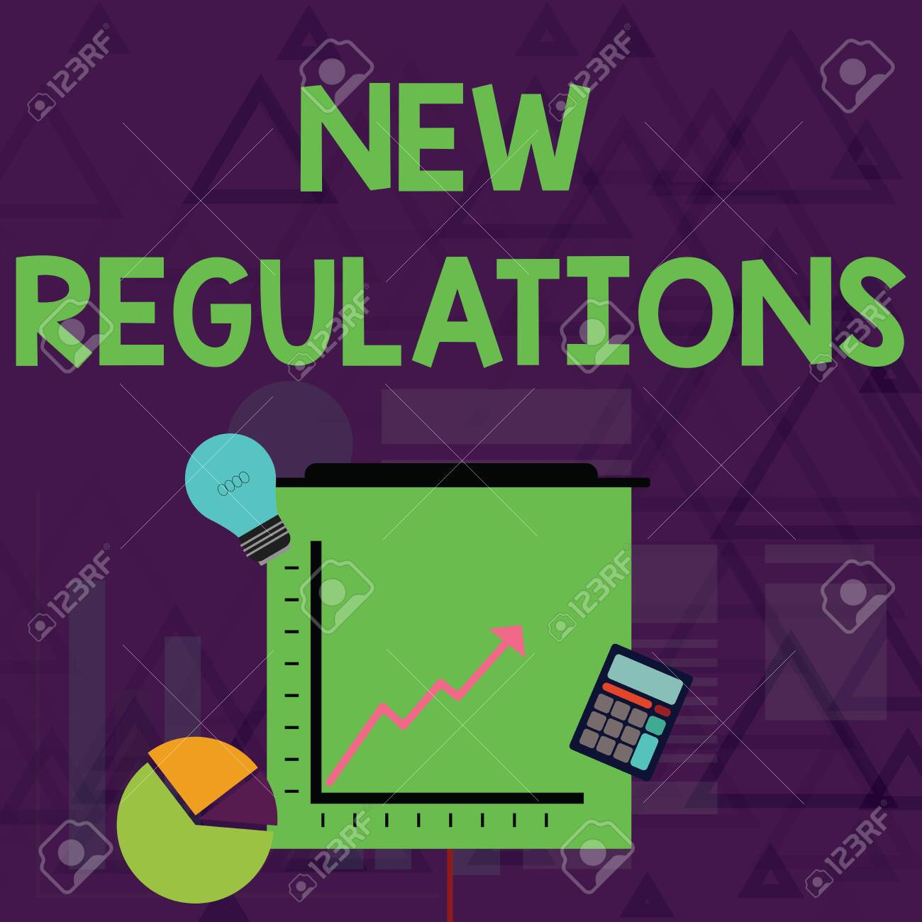 Writing note showing New Regulations. Business concept for Regulation controlling the activity usually used by rules. Investment Icons of Pie and Line Chart with Arrow Going Up - 124979838