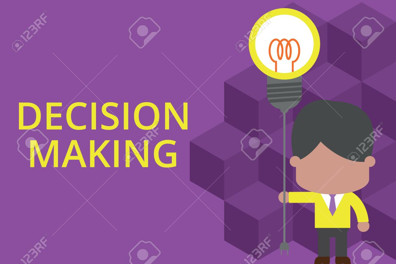 Handwriting text writing Decision Making. Conceptual photo The act of deciding between two or more possibilities Standing man tie holding plug socket light bulb to connect idea. Startup - 125245245