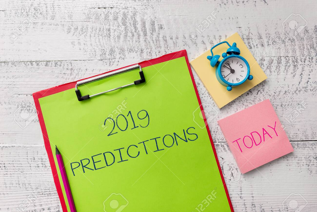 Handwriting text 2019 Predictions  Conceptual photo statement