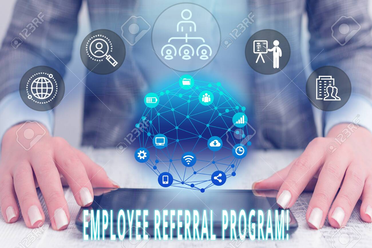 Conceptual hand writing showing Employee Referral Program  Concept