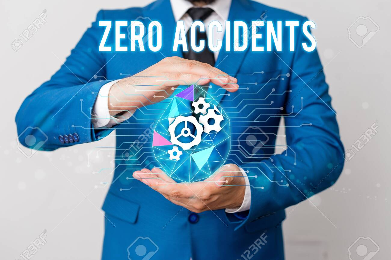 Handwriting text writing Zero Accidents. Conceptual photo important strategy for preventing workplace accidents Man net gears bubble hands suit machinery stuff office technological device - 129482734