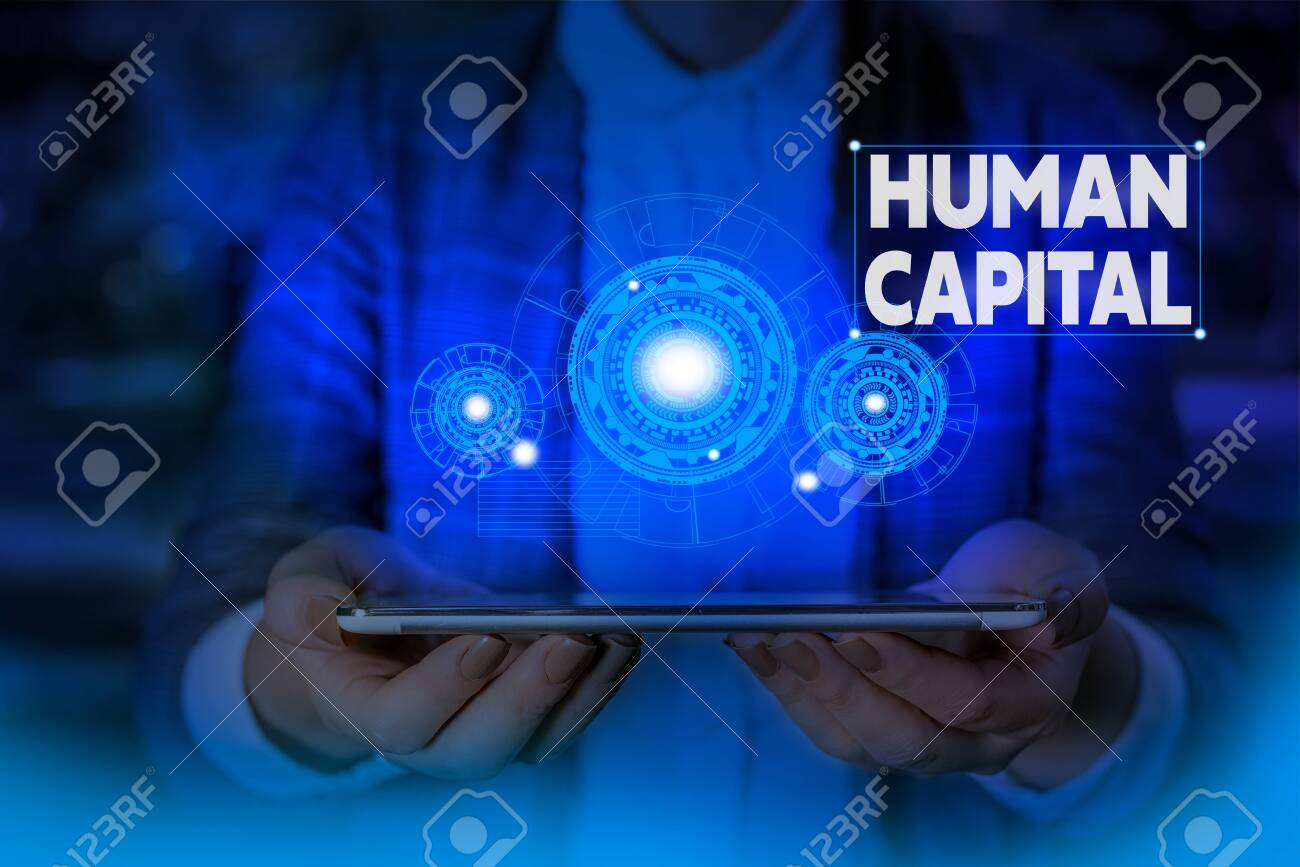 Handwriting text writing Huanalysis Capital. Conceptual photo Intangible Collective Resources Competence Capital Education Woman wear formal work suit presenting presentation using smart device - 130398828