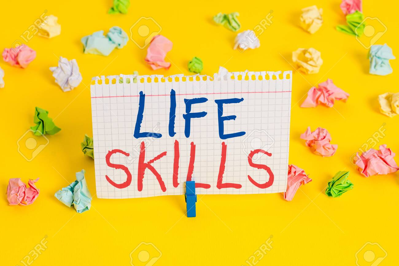 Word writing text Life Skills. Business photo showcasing that is necessary or desirable full participation in everyday Colored crumpled papers empty reminder white floor background clothespin - 130155699