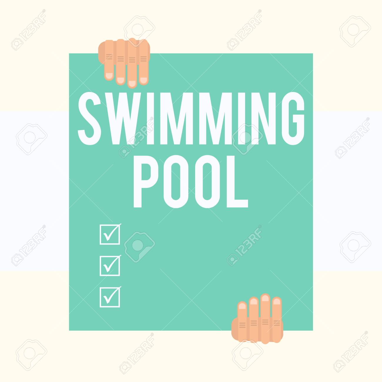 Writing note showing Swimming Pool. Business concept for Structure..
