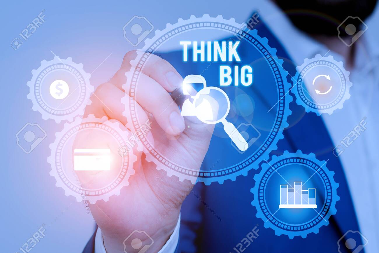 Text sign showing Think Big. Business photo showcasing To plan for something high value for ones self or for preparation Male human wear formal work suit presenting presentation using smart device - 130600096