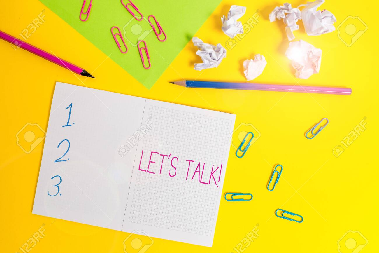 Word writing text Let S Talk. Business photo showcasing they..