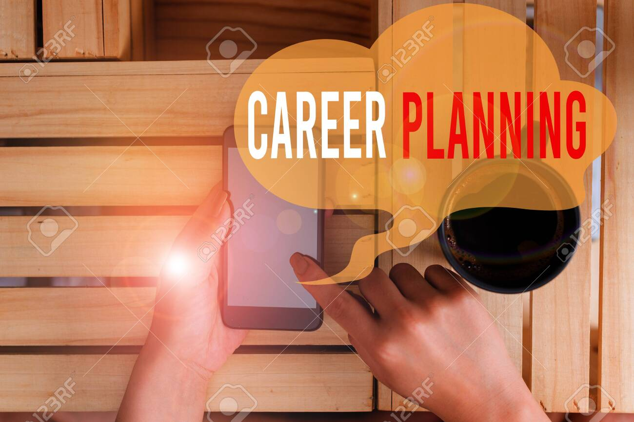 Text sign showing Career Planning. Business photo showcasing Strategically plan your career goals and work success woman computer smartphone drink mug office supplies technological devices - 131590396