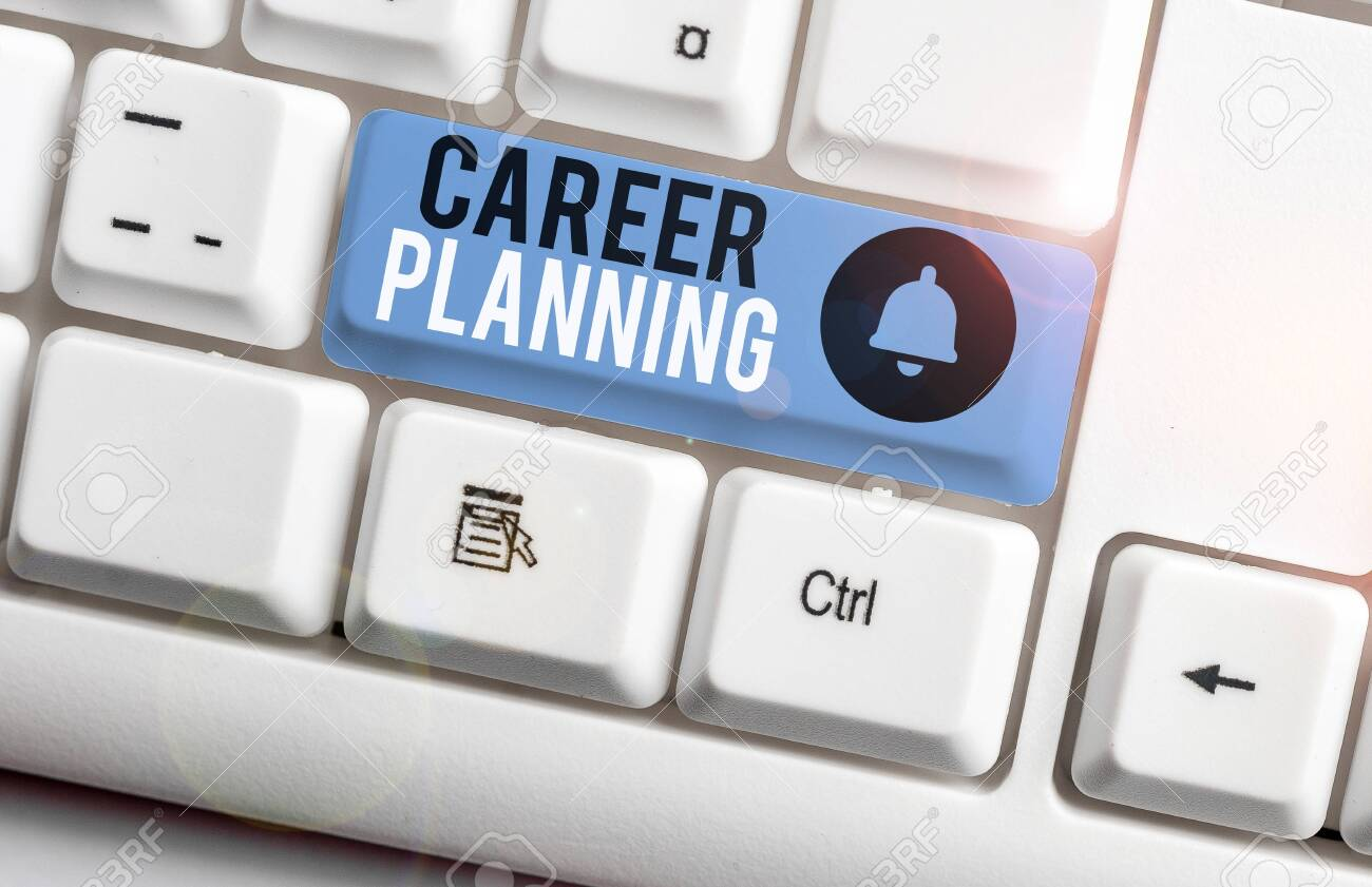 Text sign showing Career Planning. Business photo showcasing Strategically plan your career goals and work success White pc keyboard with empty note paper above white background key copy space - 132246100