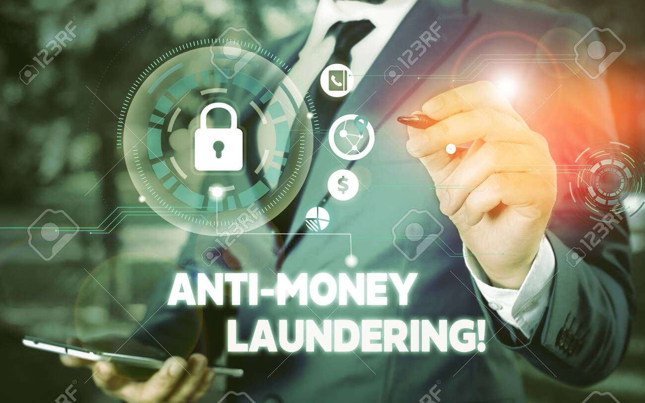 Word writing text Anti Money Laundering. Business photo showcasing regulations stop generating income through illegal actions Picture photo system network scheme modern technology smart device - 133430503