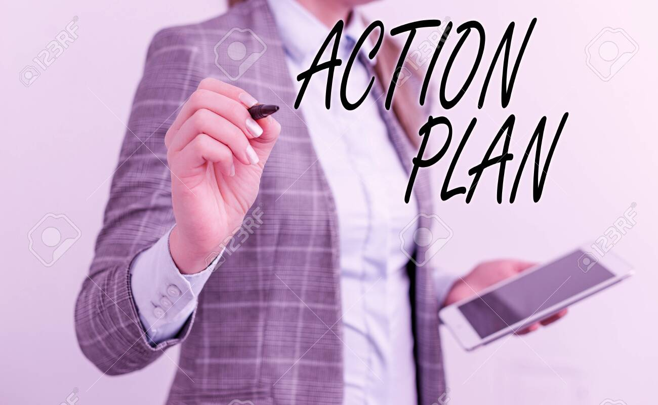 Handwriting text writing Action Plan. Conceptual photo detailed plan outlining actions needed to reach goals or vision Business woman pointing in empty space with pen and mobile phone - 133473587