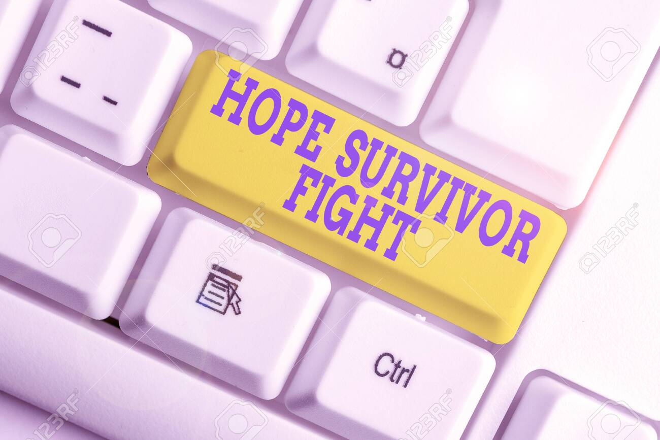 Text sign showing Hope Survivor Fight. Business photo text stand against your illness be fighter stick to dreams White pc keyboard with empty note paper above white background key copy space - 133724633