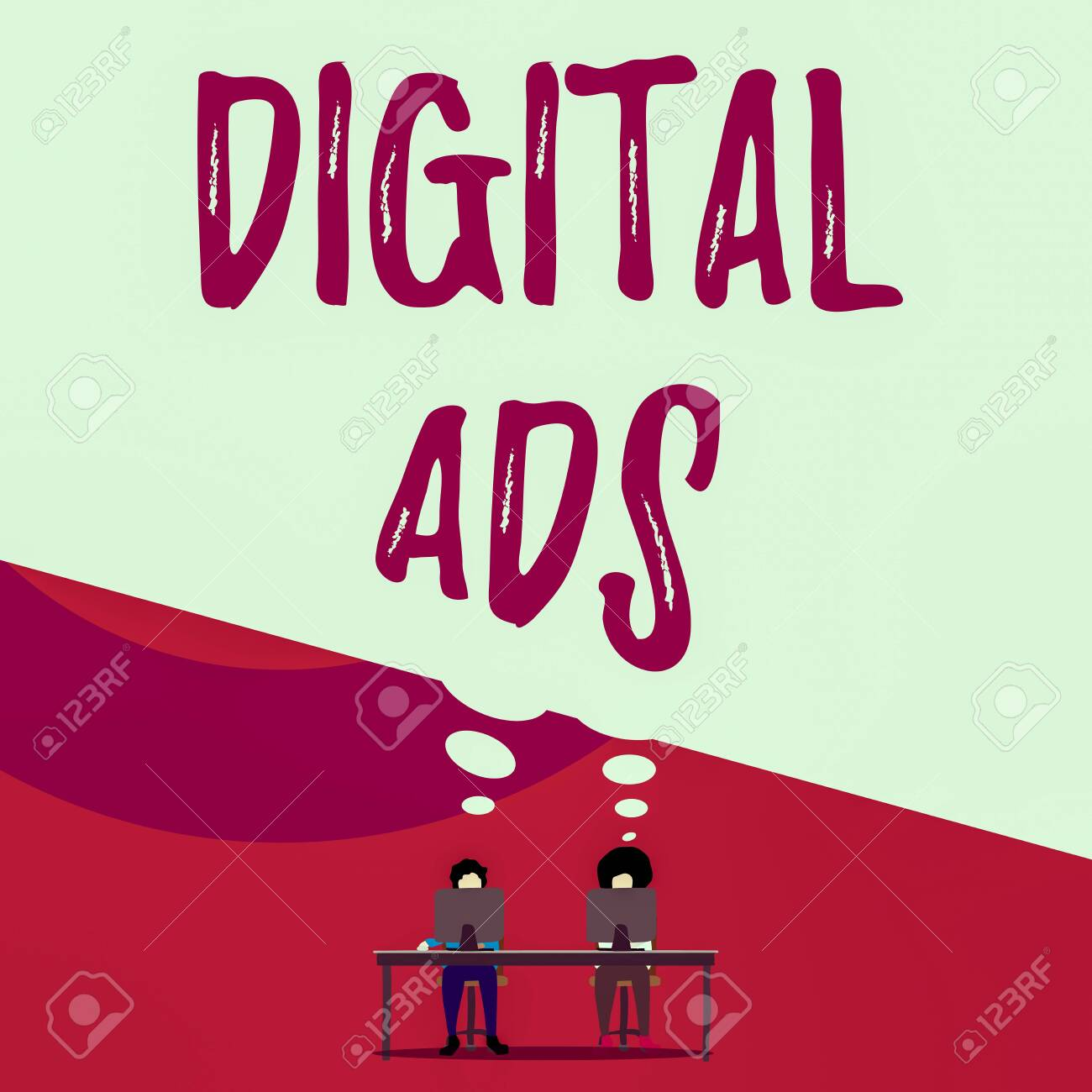 Handwriting text writing Digital Ads. Conceptual photo uses the Internet to deliver promotional marketing messages Two men sitting behind desk each one laptop sharing blank thought bubble - 138812513