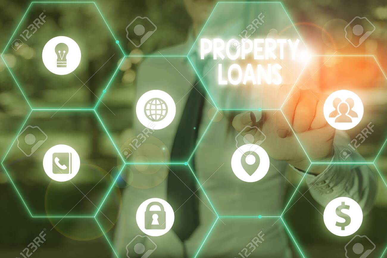 Handwriting text writing Property Loans. Conceptual photo a loan used to buy land or buildings and infrastructures - 144302085