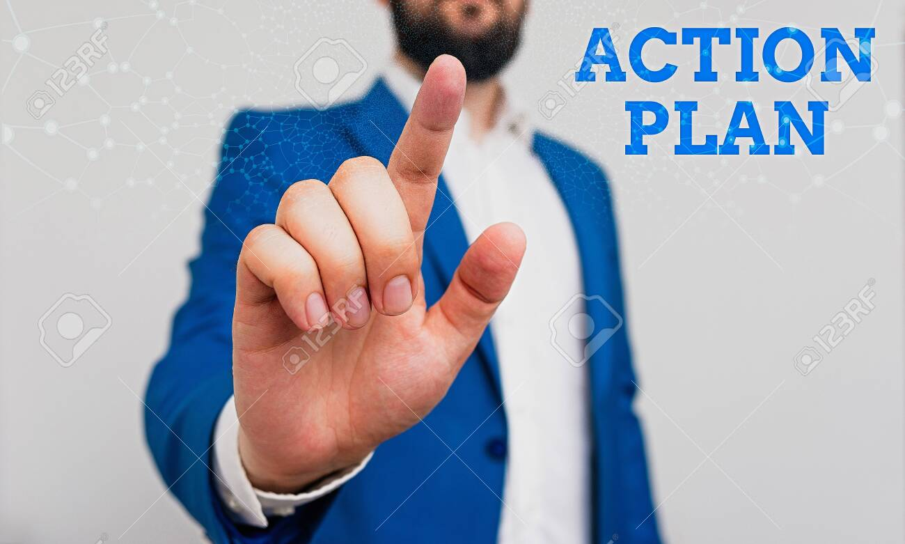 Writing note showing Action Plan. Business concept for detailed plan outlining actions needed to reach goals or vision Businessman with pointing finger in front of him - 143315657