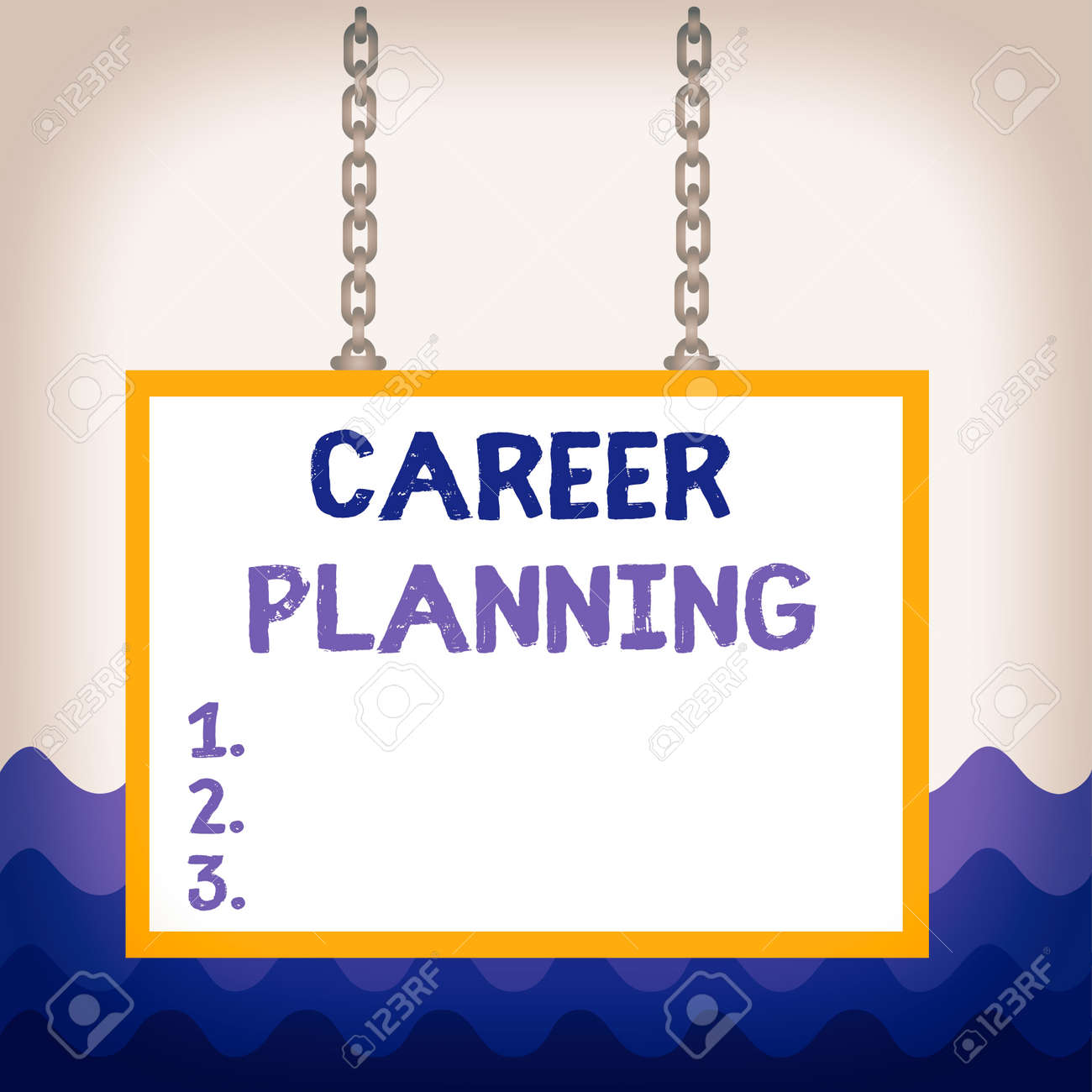 Conceptual hand writing showing Career Planning. Concept meaning Strategically plan your career goals and work success Whiteboard rectangle frame attached surface chain panel - 144433697