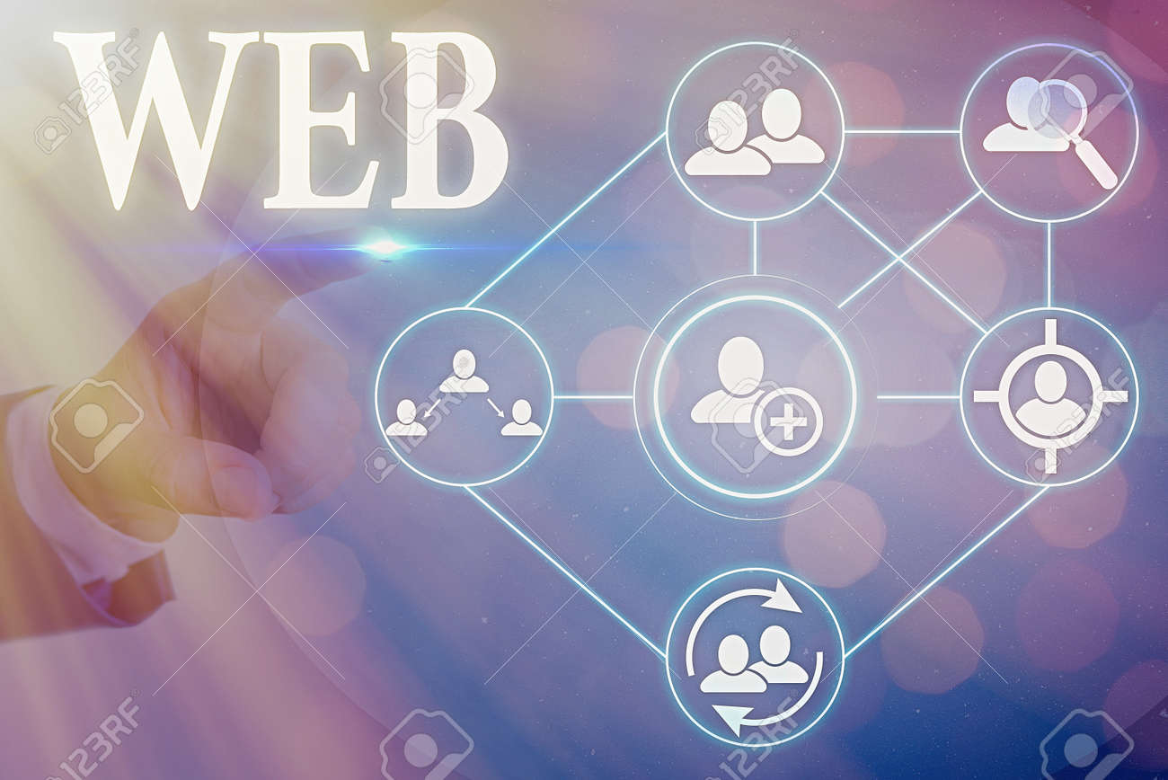Conceptual hand writing showing Web. Concept meaning a system of Internet servers that support specially formatted documents - 145470618
