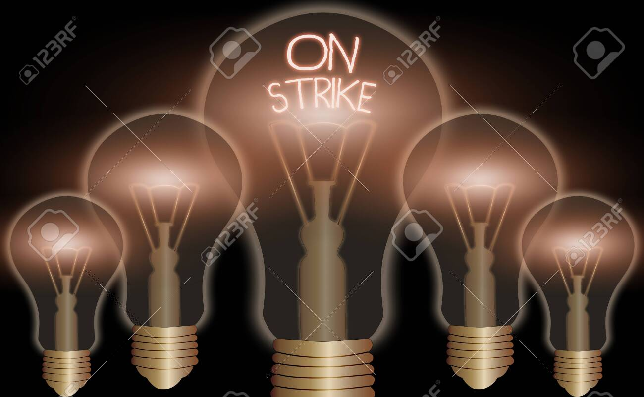 Handwriting text On Strike. Conceptual photo refuse to continue working because of an argument with an employer - 145733984