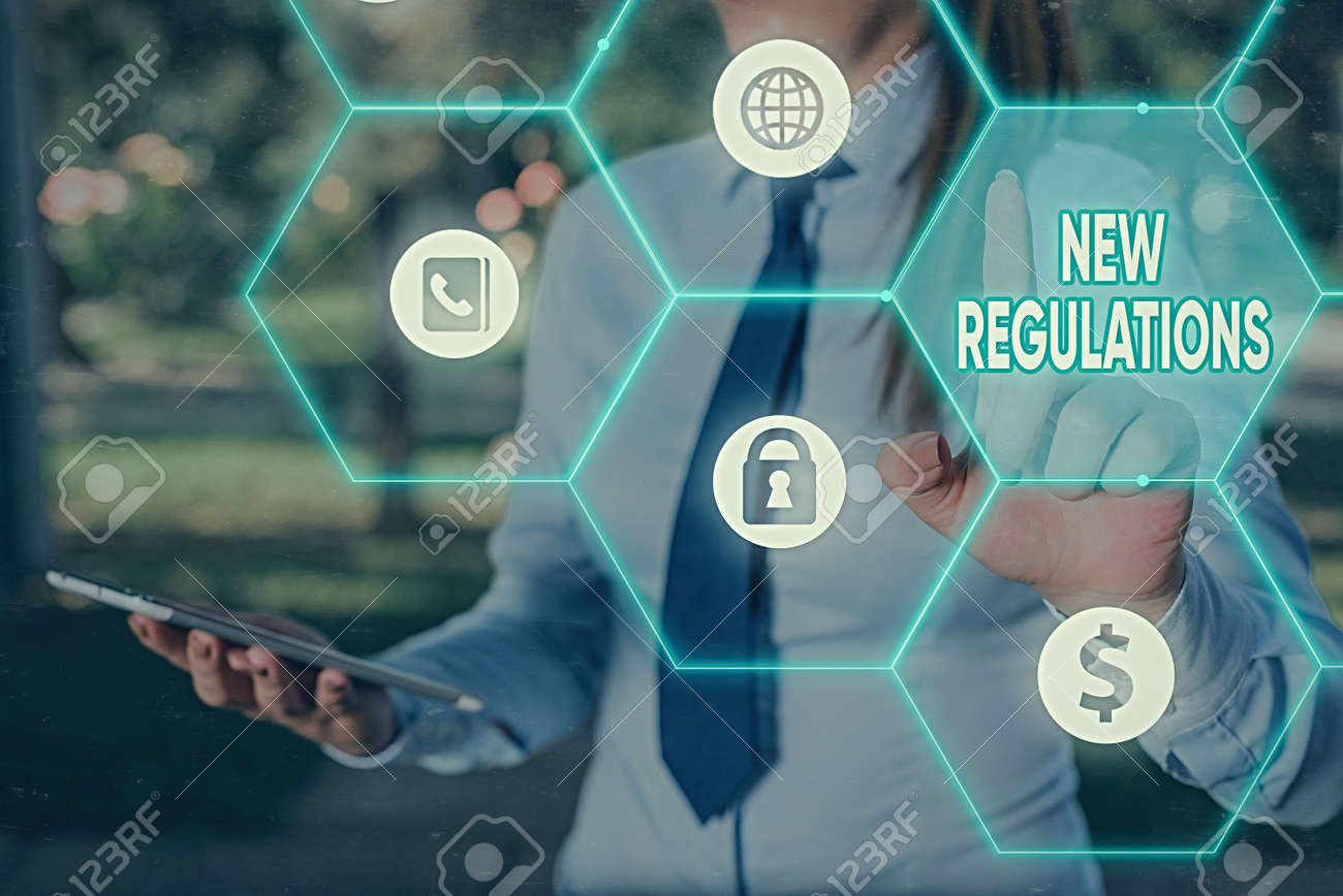 Text sign showing New Regulations. Business photo text Regulation controlling the activity usually used by rules. - 146410032