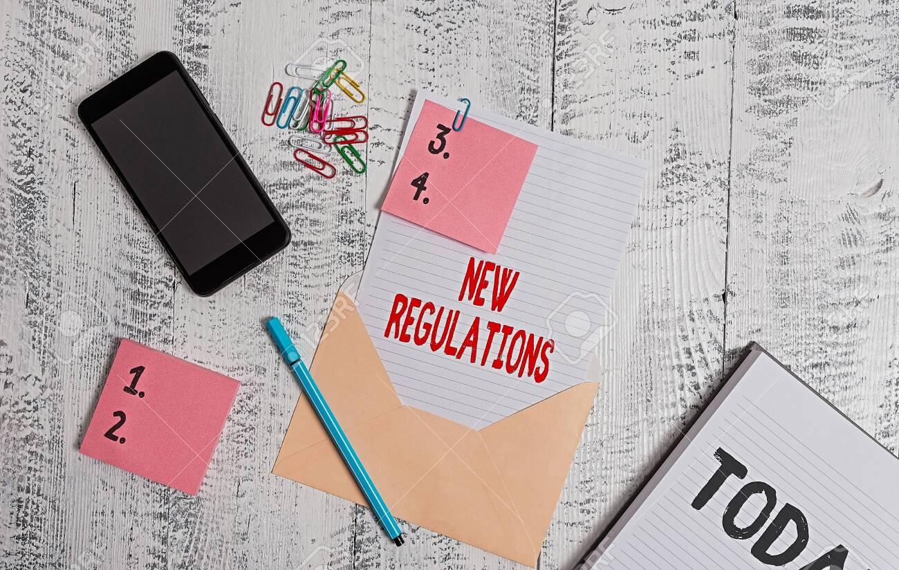 Handwriting text New Regulations. Conceptual photo Regulation controlling the activity usually used by rules. Envelope sheet smartphone sticky notes pen notepad clips wooden background - 146069251
