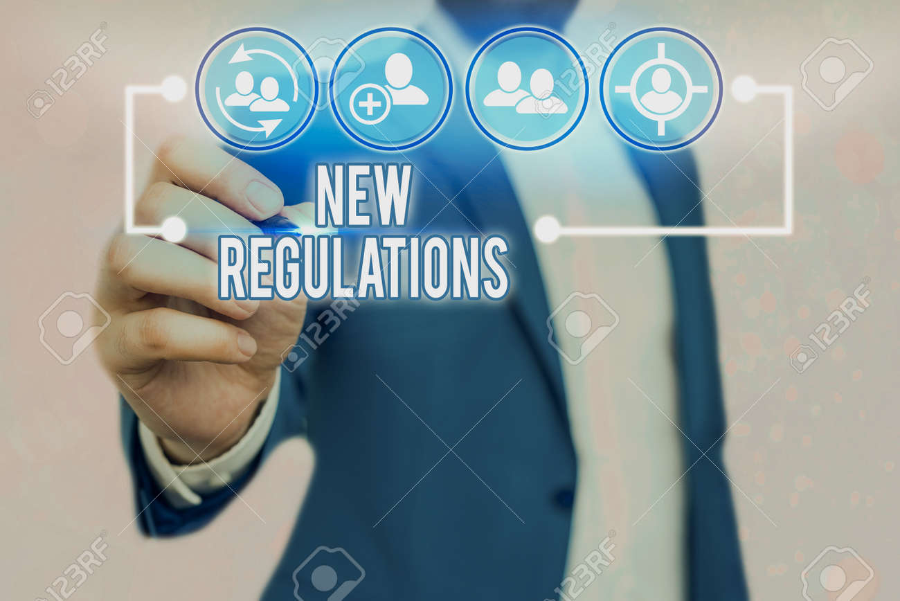 Text sign showing New Regulations. Business photo text Regulation controlling the activity usually used by rules. - 146483671