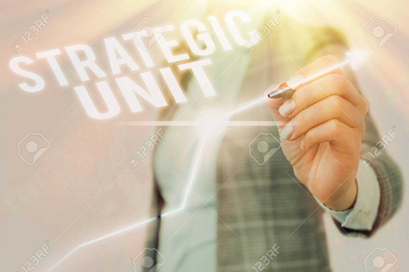 Text sign showing Strategic Unit. Business photo showcasing profit center focused on product offering and market segment. - 146519667