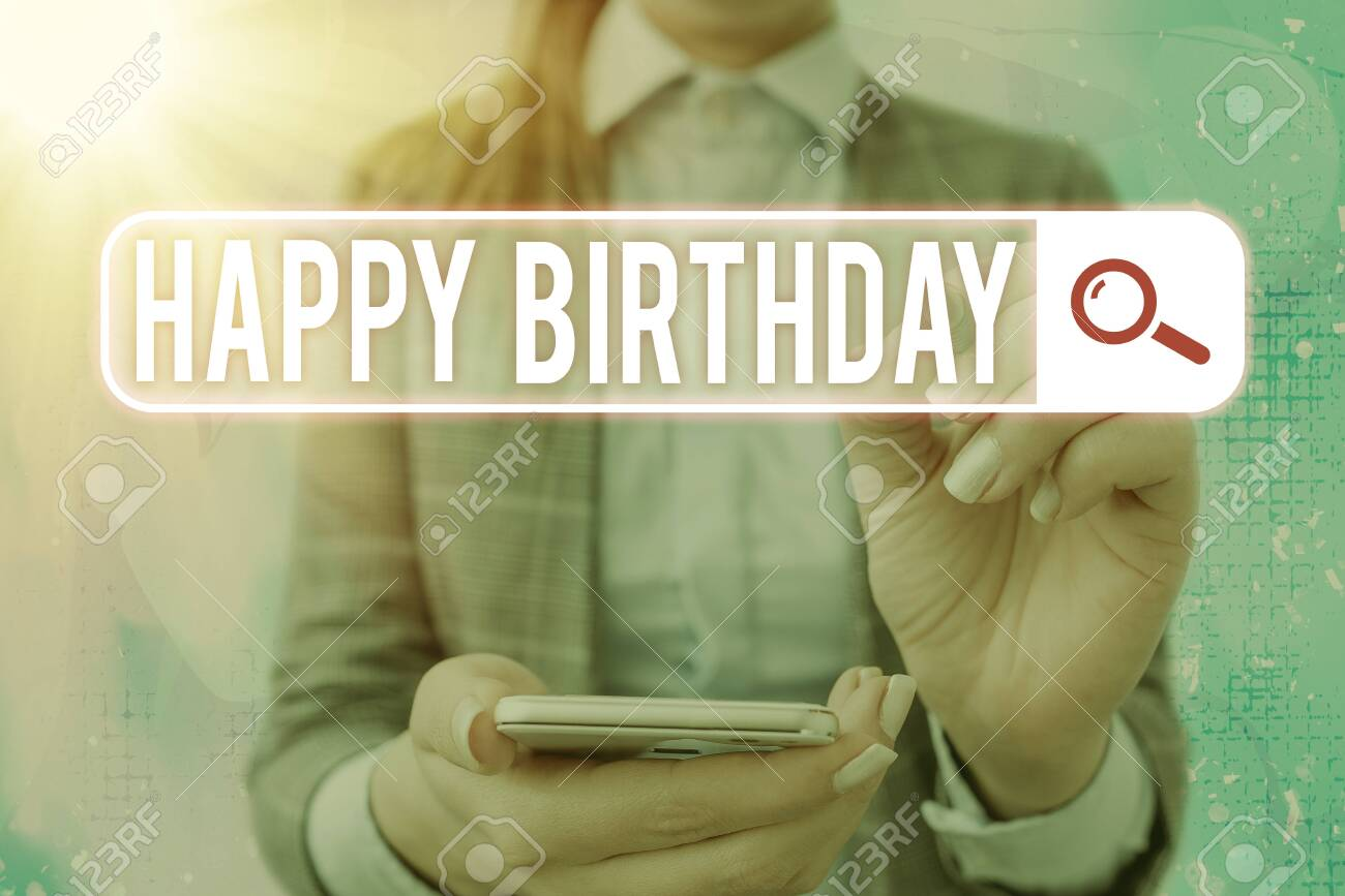 Text sign showing Happy Birthday. Business photo text The birth anniversary of an individual is celebrated with presents - 146751325