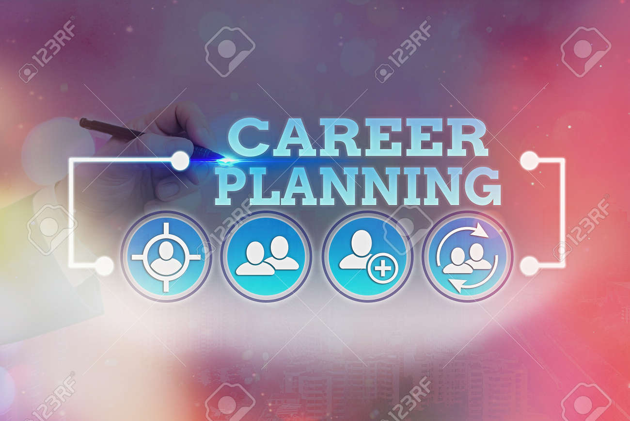 Word writing text Career Planning. Business photo showcasing Strategically plan your career goals and work success - 147791480