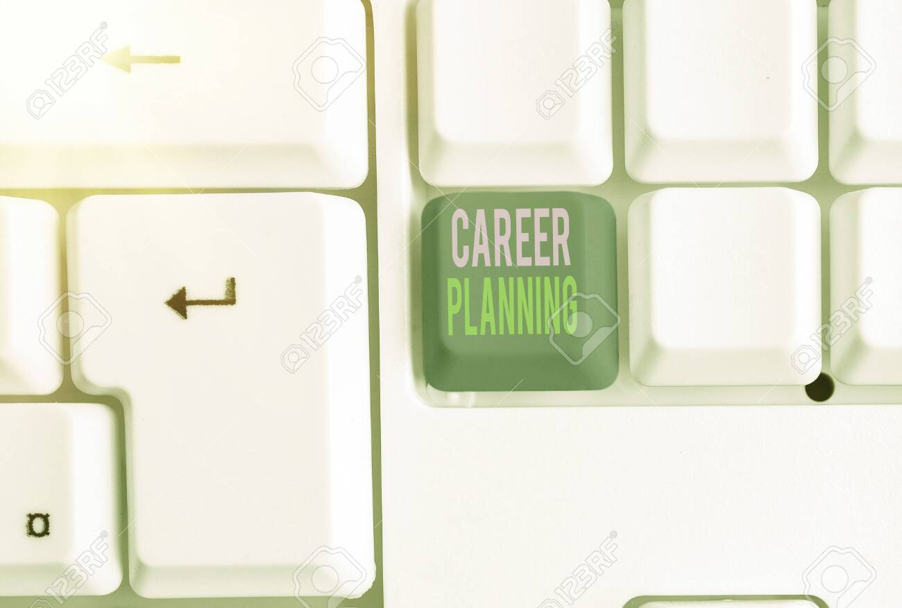 Word writing text Career Planning. Business photo showcasing Strategically plan your career goals and work success - 147800108