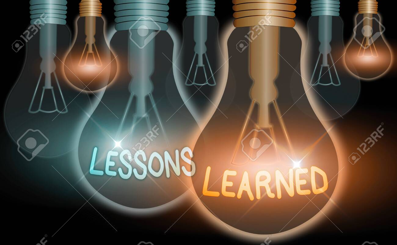 Handwriting text Lessons Learned. Conceptual photo the knowledge or understanding gained by experience - 148019219