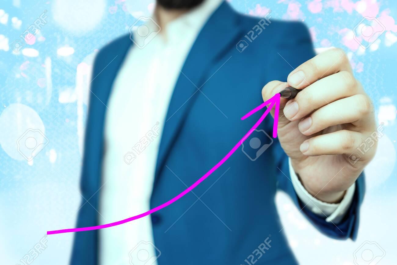 Digital Arrowhead Curve Rising Upward Denoting Growth Development Concept - 150414602
