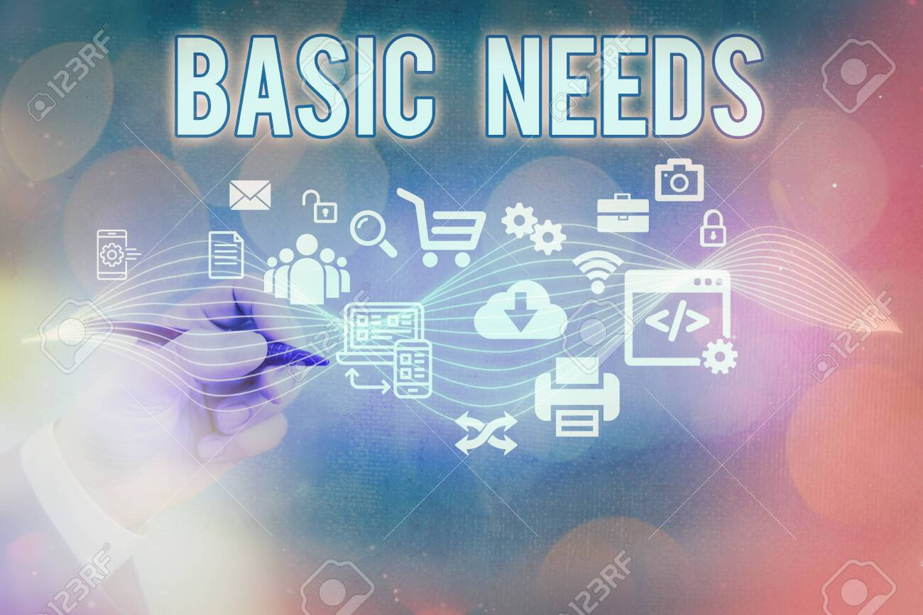 Text sign showing Basic Needs. Business photo text necessary to sustain life like food, water, shelter, and clothing Information digital technology network connection infographic elements icon - 150257659