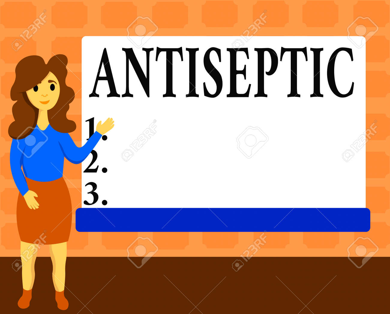 Text sign showing Antiseptic. Business photo showcasing antimicrobial agents that delays or completely eliminate the microorganism Female Hu analysis Standing Hand Presenting Rectangular Blank Whiteboard - 150772222