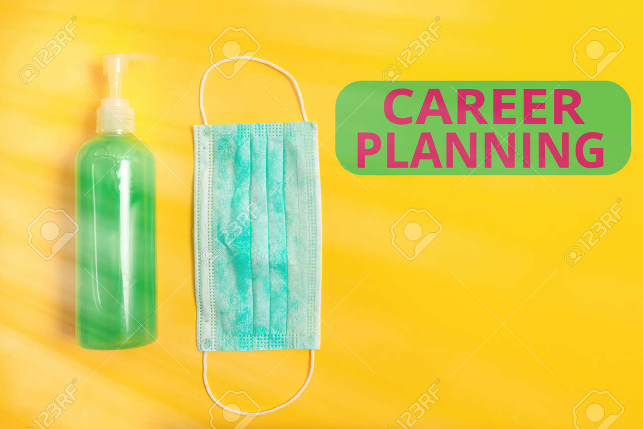 Text sign showing Career Planning. Business photo showcasing Strategically plan your career goals and work success Primary medical precautionary equipments for health care protection - 157356118