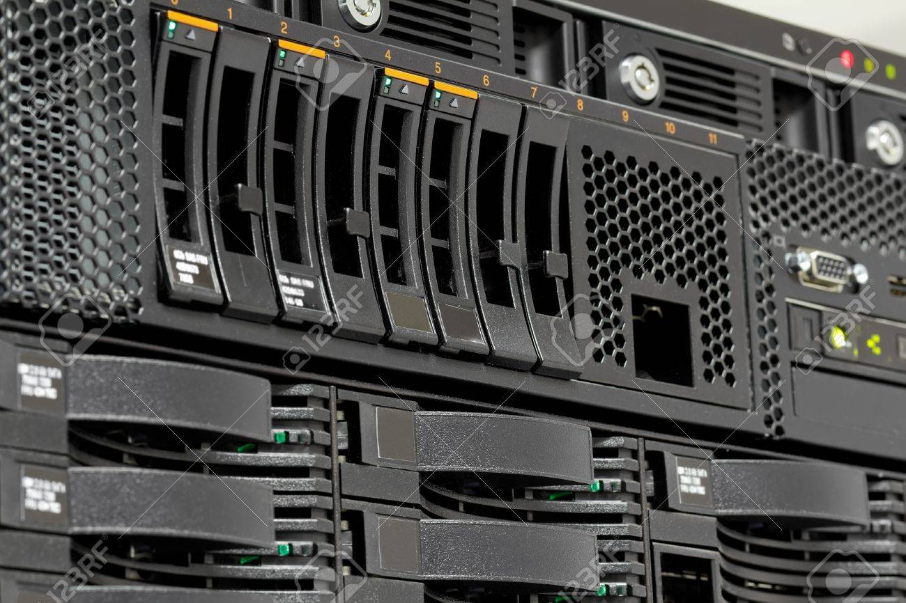 servers stack with hard drives in a datacenter for backup and data storage - 11155946