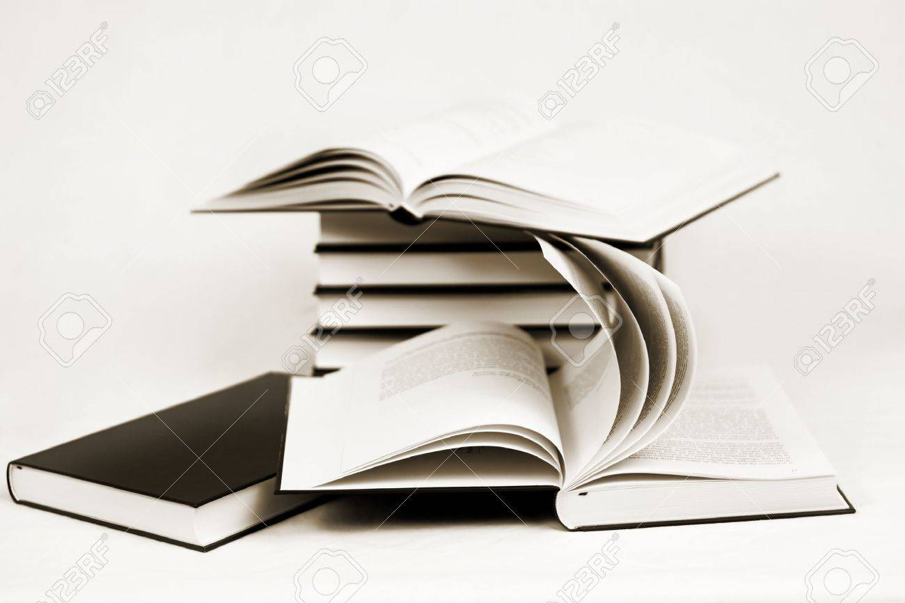 composition of bw books toned to sepia on white background Stock Photo - 12678179