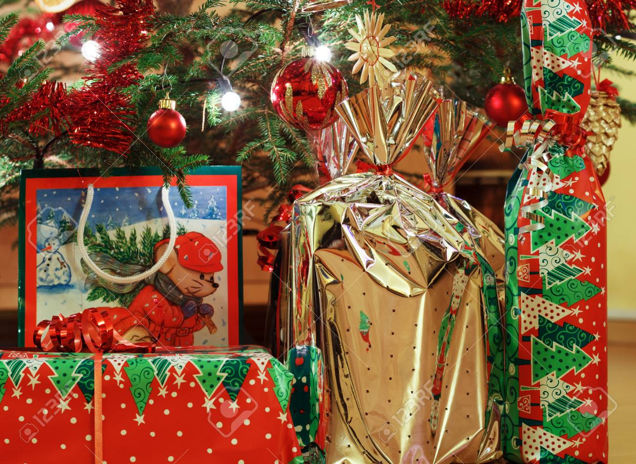 decorated christmas tree and christmas gift boxes stock photo 17012130