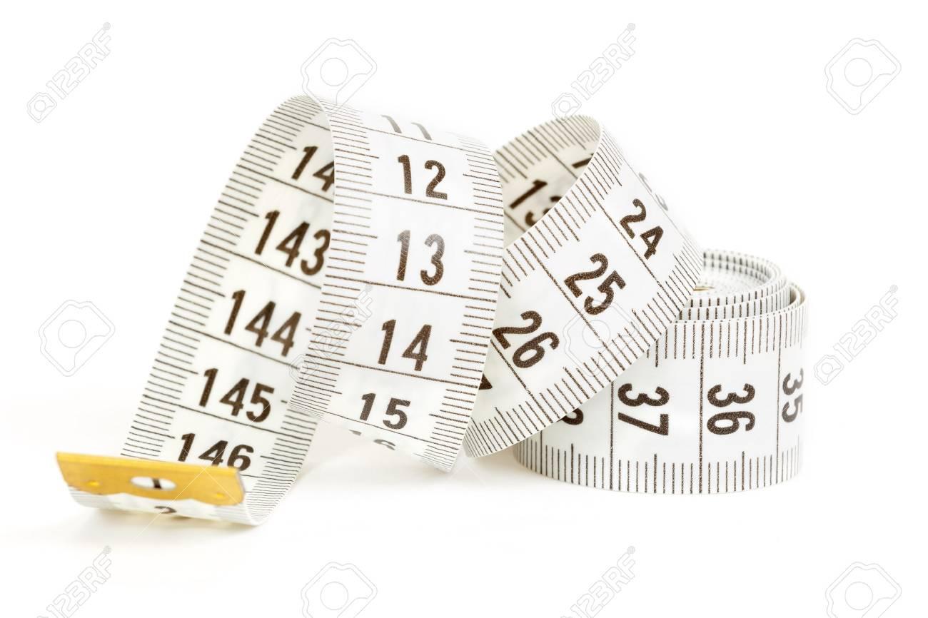 White measuring tape isolated on white background Stock Photo - 17934504