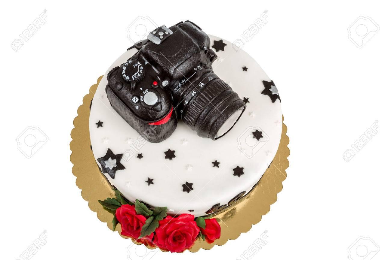 Gâteau Danniversaire Pour Quarante Anniversaire Avec Appareil Photo Reflex Numérique Moderne Photo Isolé Sur Blanc