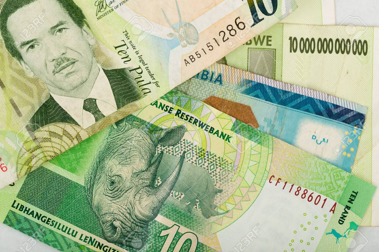 South African Countries Banknotes For Background Botswana Pula
