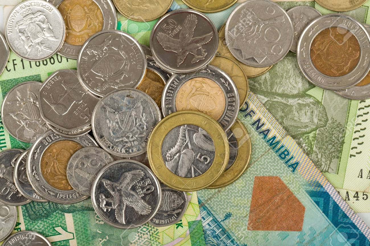 South African Countries Banknotes And Coins For Background Botswana