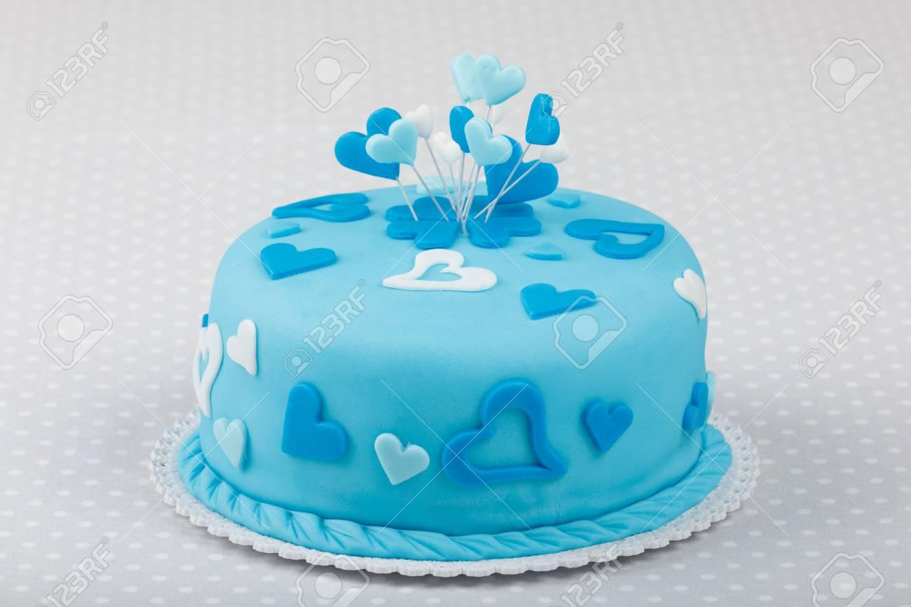 Wondrous Birthday Valentine Cake In Blue Color Love Concept Stock Photo Birthday Cards Printable Inklcafe Filternl