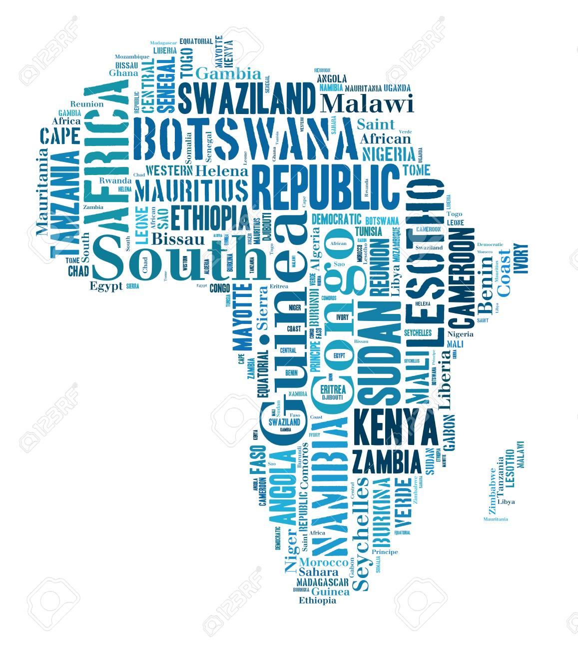Sketch Africa Continent From Tetx Country Names, African Words ...
