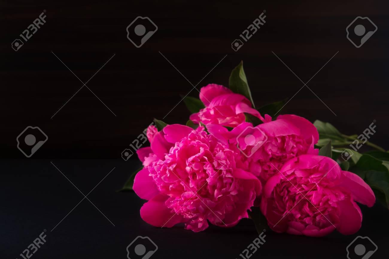 Bouquet Di Peonie Rosa Di Fiori Su Sfondo Sfocato Scuro Foto Buia Profondità Di Campo