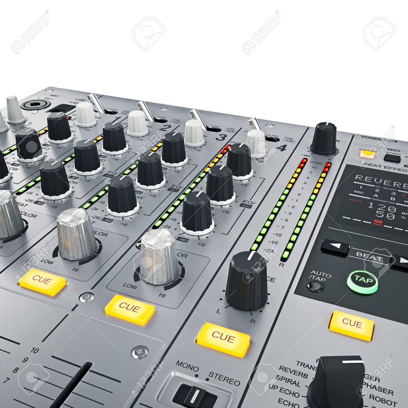 DJ Mixer controls  Illuminated buttons with Light diodes