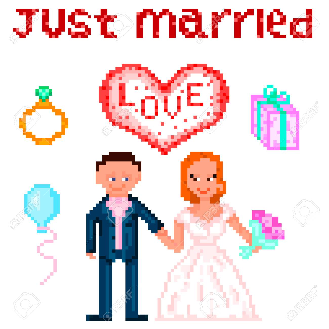 Set in style pixel art wedding themes of the six elements vector set in style pixel art wedding themes of the six elements vector illustration stock junglespirit Image collections