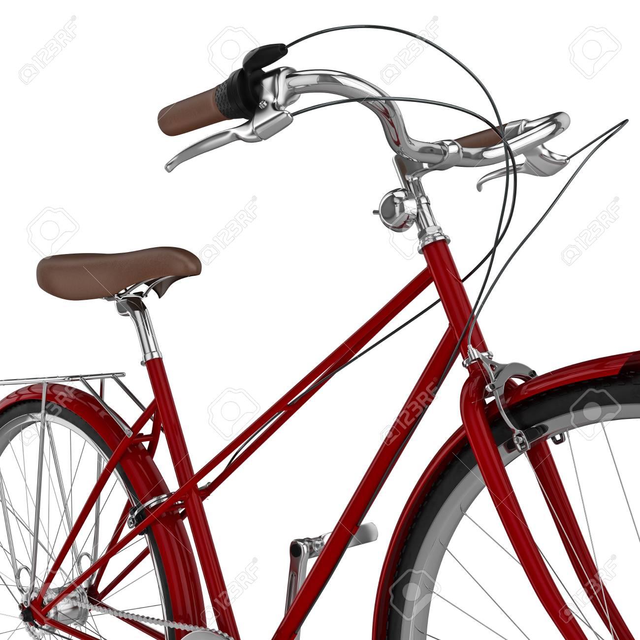 Lenker Rot Chrom Fahrrad Mit Spikereifen Und Handbremsen. 3D-Grafik ...