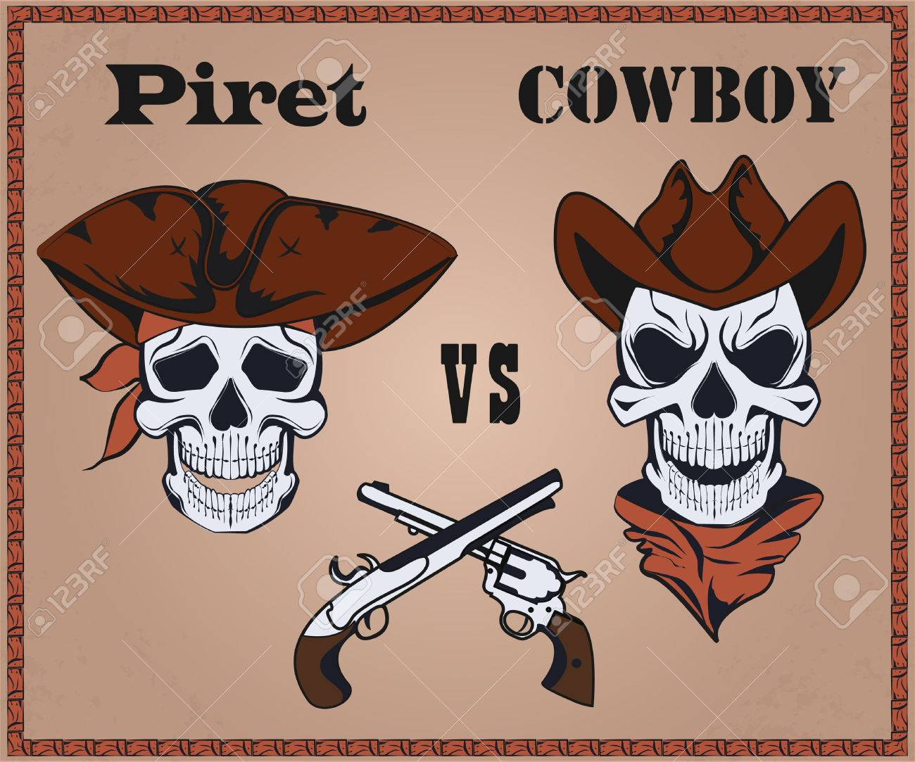 Confrontation Pirate Against Cowboy Two The Crossed Pistols Hats It Can Be Used